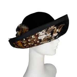 Vintage F & M Womens Hat Black Wool with Feathers